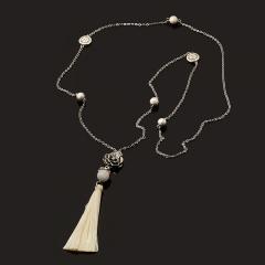 Бусы лунный камень (адуляр) Индия (биж. сплав, сталь хир., текстиль) (сотуар) длинные 10 мм 80 см