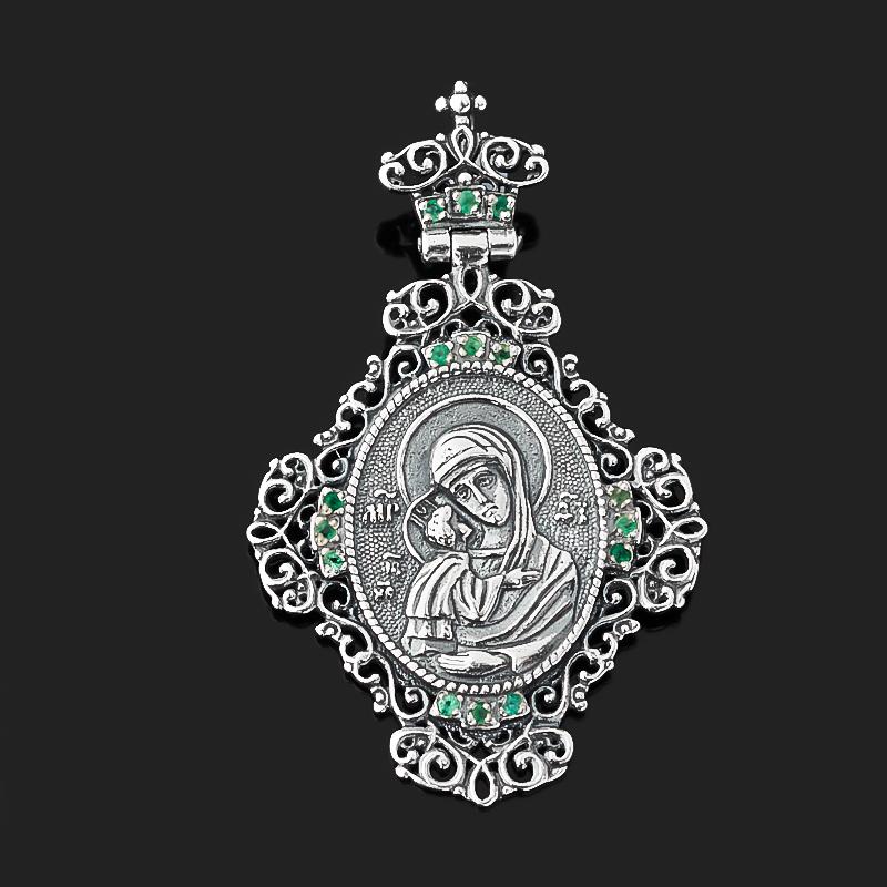 Фото - Кулон изумруд (серебро 925 пр. оксидир.) Богоматерь Владимирская огранка изображение янтарь богоматерь владимирская 13х16 см