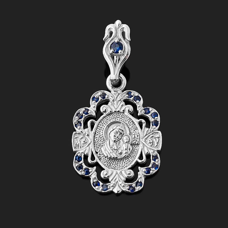 Фото - Кулон сапфир (серебро 925 пр.) Богоматерь Владимирская огранка изображение янтарь богоматерь владимирская 13х16 см