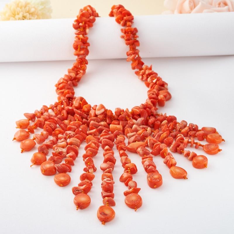 Бусы коралл оранжевый 49 см авторские бусы коралл хрусталь коралл летиссия