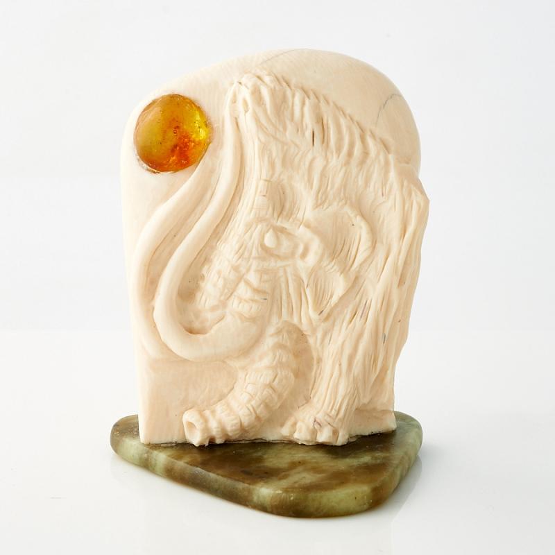 Статуэтка бивень мамонта, янтарь, нефрит  (h=50 мм)
