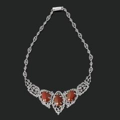 Колье сердолик Индия (серебро 925 пр. оксидир.) 47 см