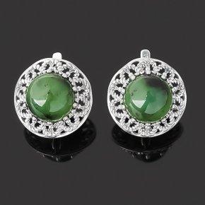 Серьги нефрит зеленый Россия (серебро 925 пр. оксидир.)