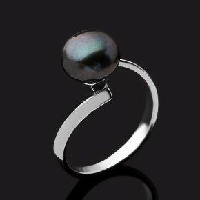 Кольцо жемчуг черный Гонконг (серебро 925 пр. родир. бел.) размер 18