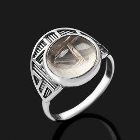 Кольцо горный хрусталь Бразилия (серебро 925 пр. оксидир.) размер 17