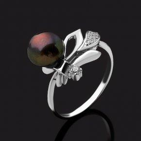 Кольцо жемчуг черный Гонконг (серебро 925 пр. родир. бел.) размер 17