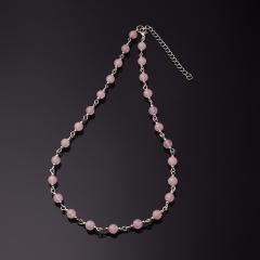 Бусы розовый кварц Бразилия, Мадагаскар (биж. сплав, сталь хир.) 6 мм 55 см (+7 см)