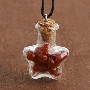 Кулон сердолик Ботсвана (биж. сплав, стекло, текстиль) бутылочка 3 см
