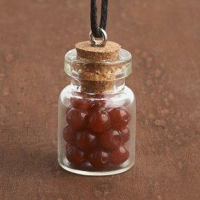 Кулон сердолик Ботсвана (биж. сплав, стекло, текстиль) бутылочка 2,5 см