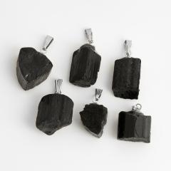 Кулон турмалин черный (шерл) Бразилия (биж. сплав) кристалл 2-3 см