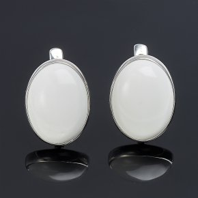 Серьги кахолонг Казахстан (серебро 925 пр. родир. бел.)
