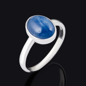 Кольцо кианит синий Бразилия (серебро 925 пр. родир. бел.) размер 17