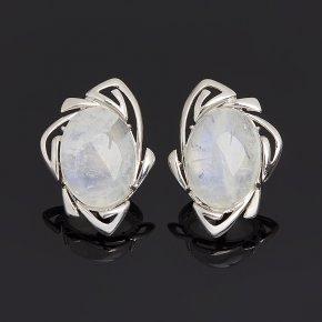 Серьги лунный камень (адуляр) Индия (серебро 925 пр. родир. бел.)