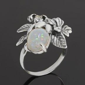 Кольцо опал благородный белый Эфиопия (серебро 925 пр. оксидир.) размер 17,5