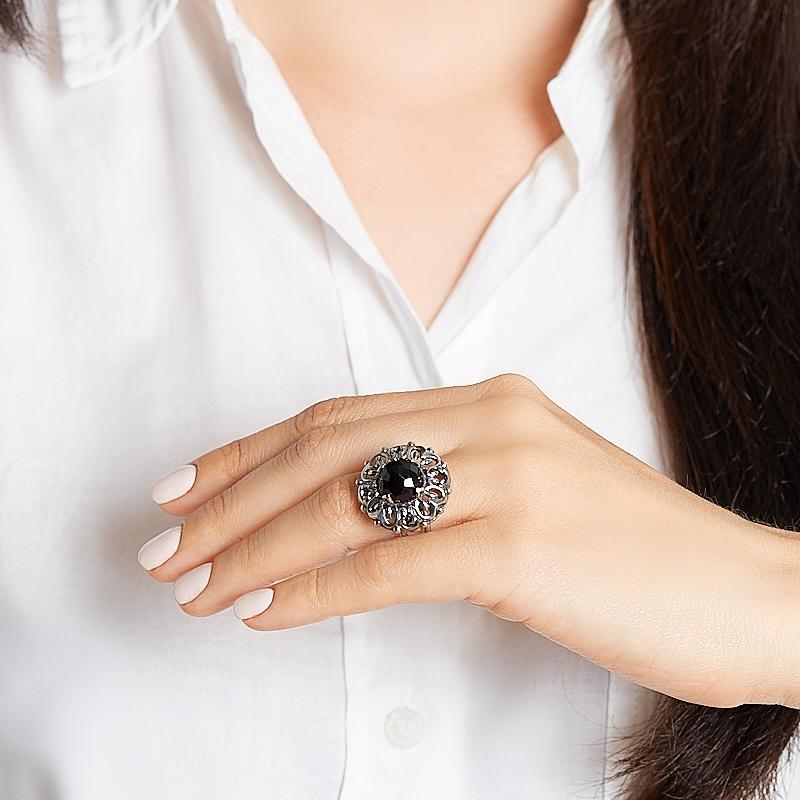 Кольцо агат черный Бразилия (серебро 925 пр. оксидир.) огранка размер 17,5