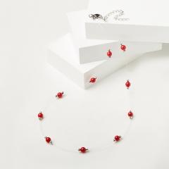 Бусы коралл красный Индонезия (биж. сплав, сталь хир., текстиль) 6 мм 48 см (+7 см)