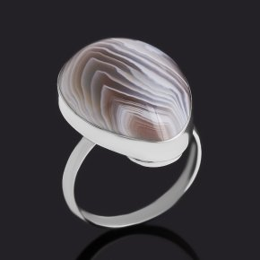 Кольцо агат серый Россия (нейзильбер) размер 18,5