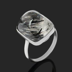 Кольцо кварц с турмалином Казахстан (нейзильбер) размер 17