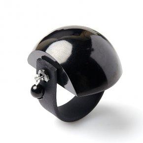 Кольцо гагат Грузия (биж. сплав, каучук) (регулируемый) размер 19