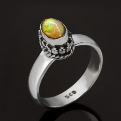 Кольцо опал благородный огненный Мексика (серебро 925 пр. оксидир.) размер 16,5