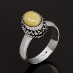 Кольцо опал благородный желтый Эфиопия (серебро 925 пр. оксидир.) размер 17