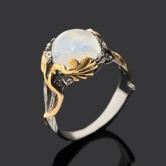 Кольцо лунный камень (адуляр) Индия (серебро 925 пр. позолота, родир. сер.) размер 18