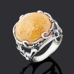Кольцо коралл Индонезия (серебро 925 пр. оксидир.) размер 17,5