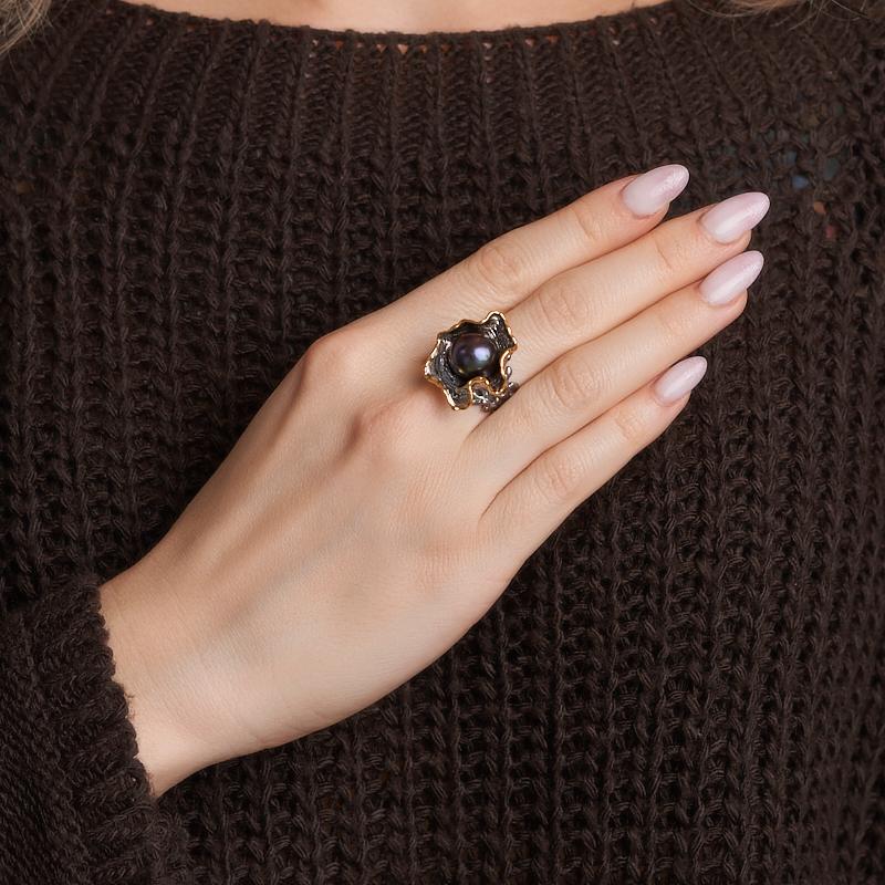 Кольцо жемчуг черный Гонконг (серебро 925 пр. позолота, родир. сер.) размер 17,5