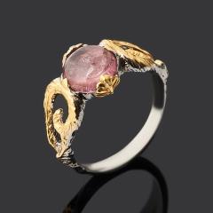 Кольцо турмалин розовый (рубеллит) Бразилия (серебро 925 пр. позолота, родир. сер.) размер 17,5