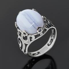 Кольцо агат голубой Намибия (серебро 925 пр. оксидир.) размер 17,5