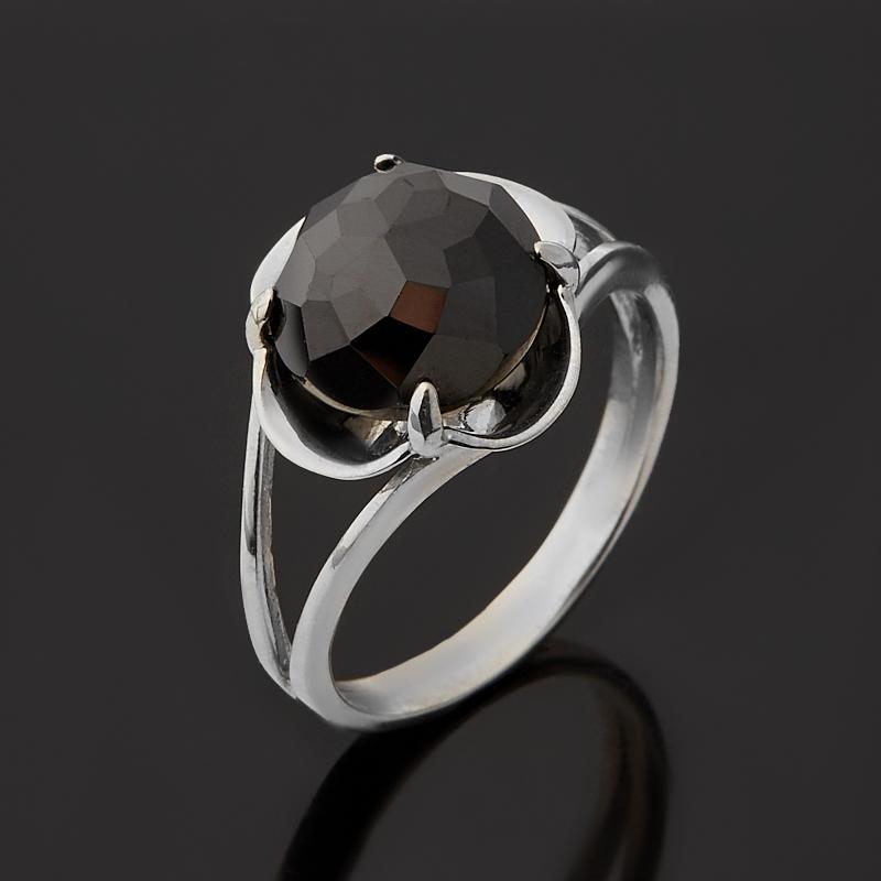 Кольцо шпинель черная Шри Ланка (серебро 925 пр. родир. бел.) огранка размер 17,5
