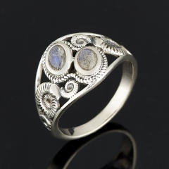 Кольцо лабрадор Мадагаскар (серебро 925 пр. оксидир.) размер 17