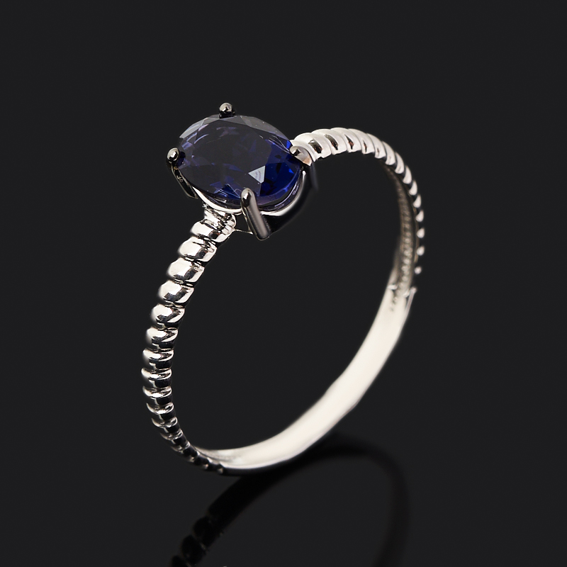 Кольцо иолит (кордиерит)  (серебро 925 пр. родир. бел., родир. черн.) огранка размер 17,5
