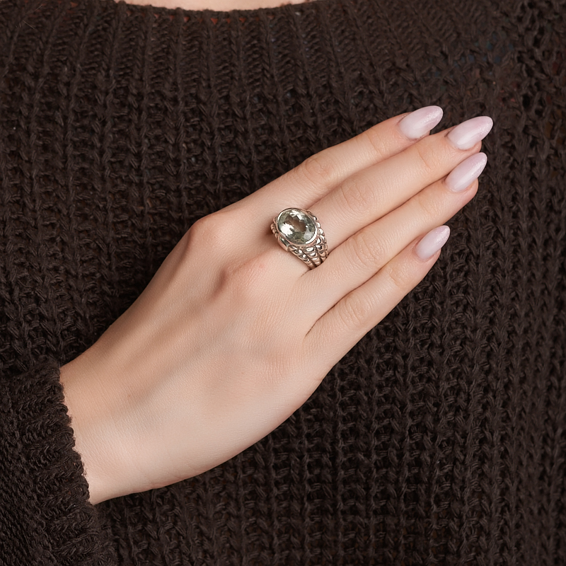 Кольцо празиолит Бразилия (серебро 925 пр. оксидир.) огранка размер 17