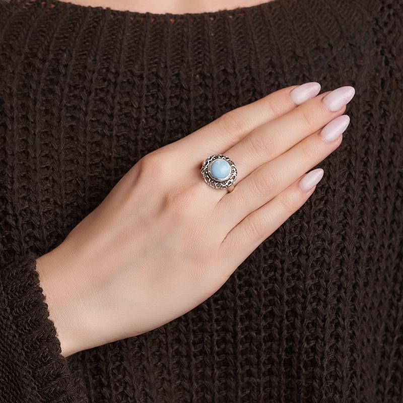 Кольцо ларимар Доминиканская Республика (серебро 925 пр. оксидир.) размер 17,5