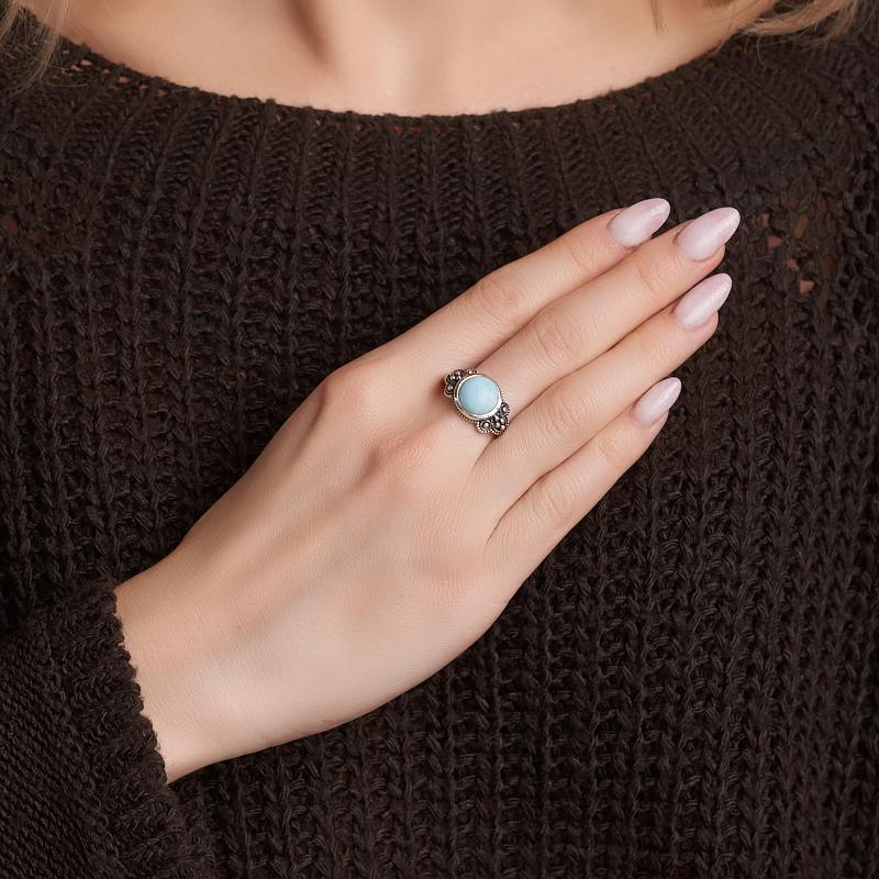 Кольцо ларимар Доминиканская Республика (серебро 925 пр. оксидир.) размер 18