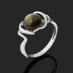 Кольцо обсидиан золотистый Мексика (серебро 925 пр. родир. бел.) размер 17,5