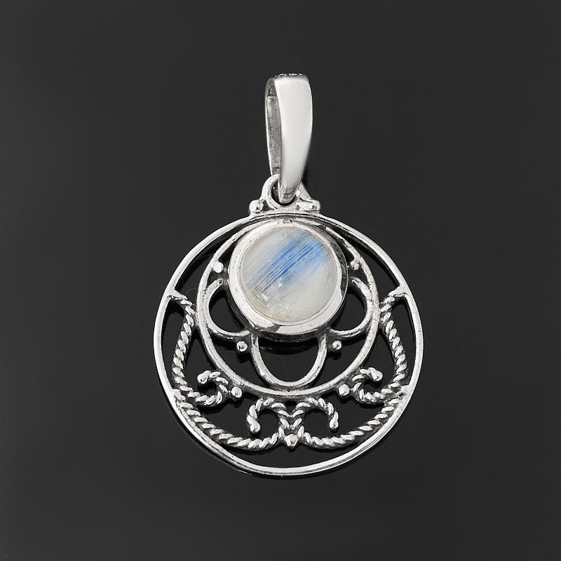 Фото - Кулон лунный камень (адуляр) (серебро 925 пр. оксидир.) круг кулон микс амазонит лунный камень серебро 925 пр
