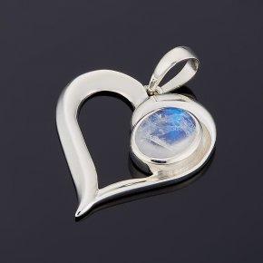 Кулон лунный камень (адуляр) Индия (серебро 925 пр.) сердечко
