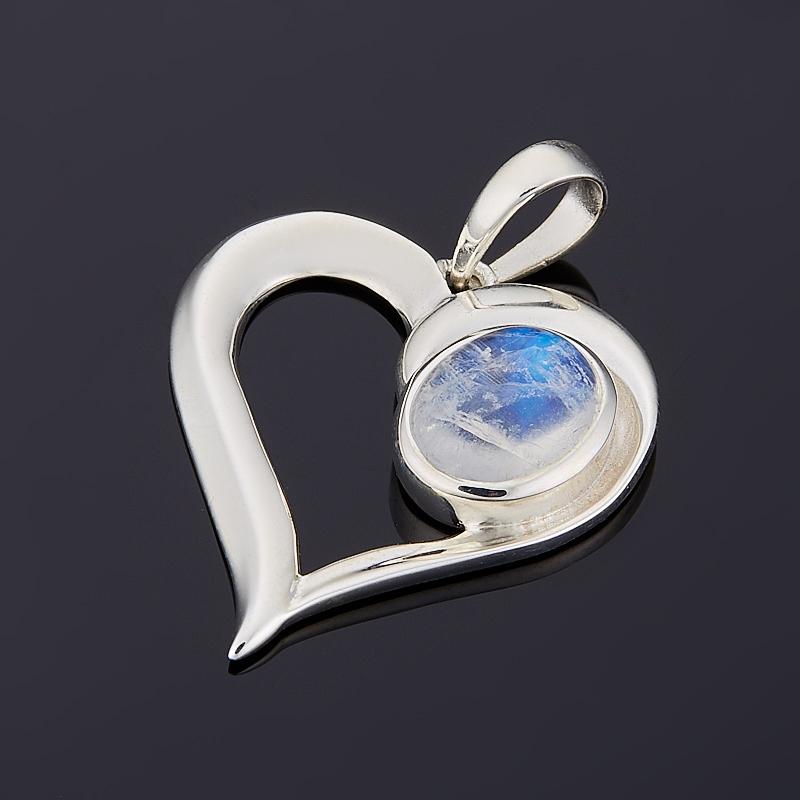 Фото - Кулон лунный камень (адуляр) (серебро 925 пр.) сердечко кулон микс амазонит лунный камень серебро 925 пр