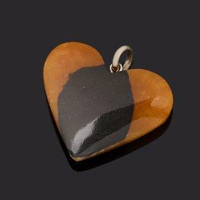 Кулон симбирцит Россия (нейзильбер) сердечко 3,5-4 см