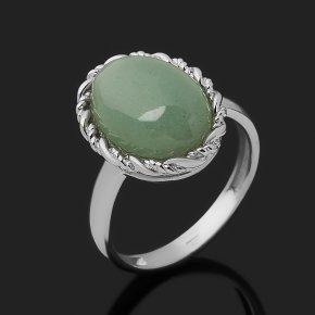Кольцо авантюрин зеленый Индия (серебро 925 пр. родир. бел.) размер 17,5