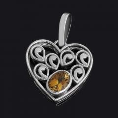 Кулон цитрин Бразилия (серебро 925 пр.) сердечко огранка