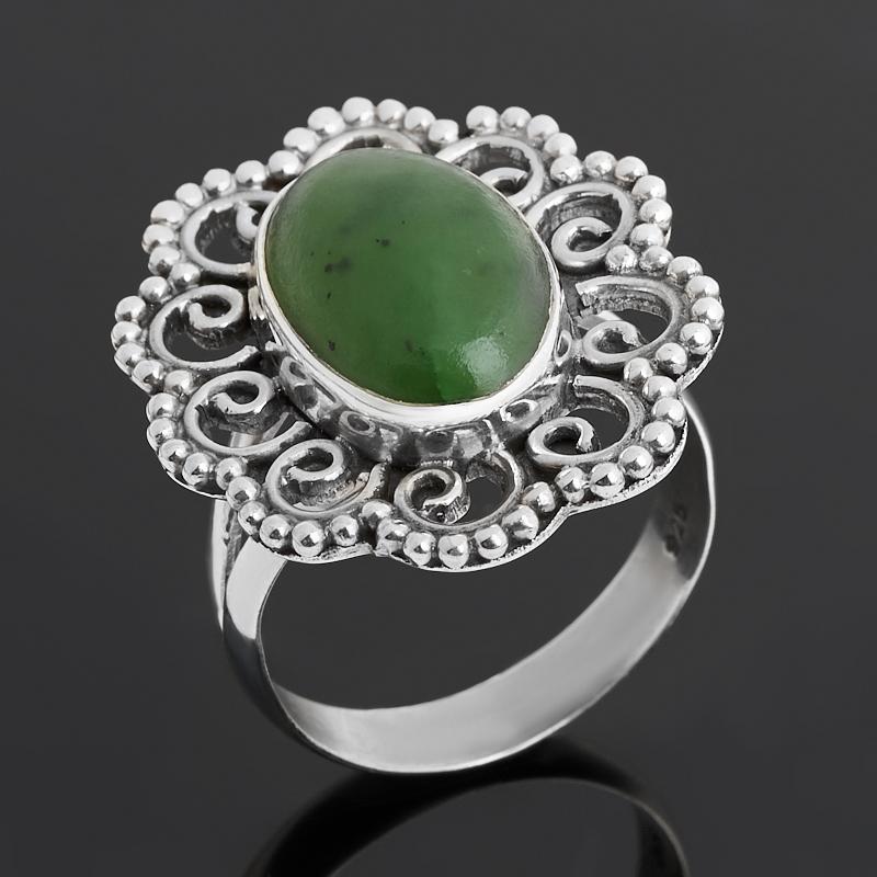 Кольцо нефрит зеленый  (серебро 925 пр. оксидир.) размер 19,5