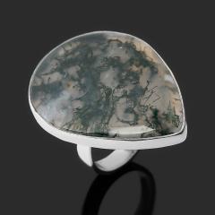 Кольцо агат моховой Индия (серебро 925 пр.) размер 18