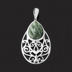 Кулон клинохлор (серафинит) Россия (серебро 925 пр.) капля