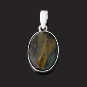 Кулон тигрово-соколиный глаз ЮАР (серебро 925 пр.) овал
