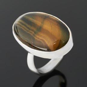Кольцо тигрово-соколиный глаз ЮАР (серебро 925 пр.) (регулируемый) размер 18