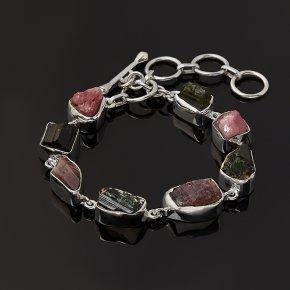 Браслет турмалин зеленый (верделит), розовый (рубеллит) Бразилия (серебро 925 пр.) 16 см (+3 см)