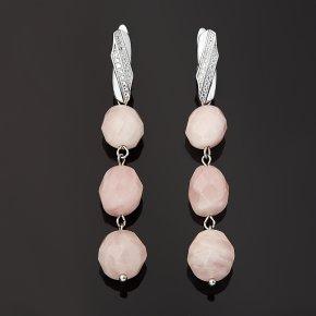 Серьги розовый кварц Мадагаскар (биж. сплав родир. бел.) огранка